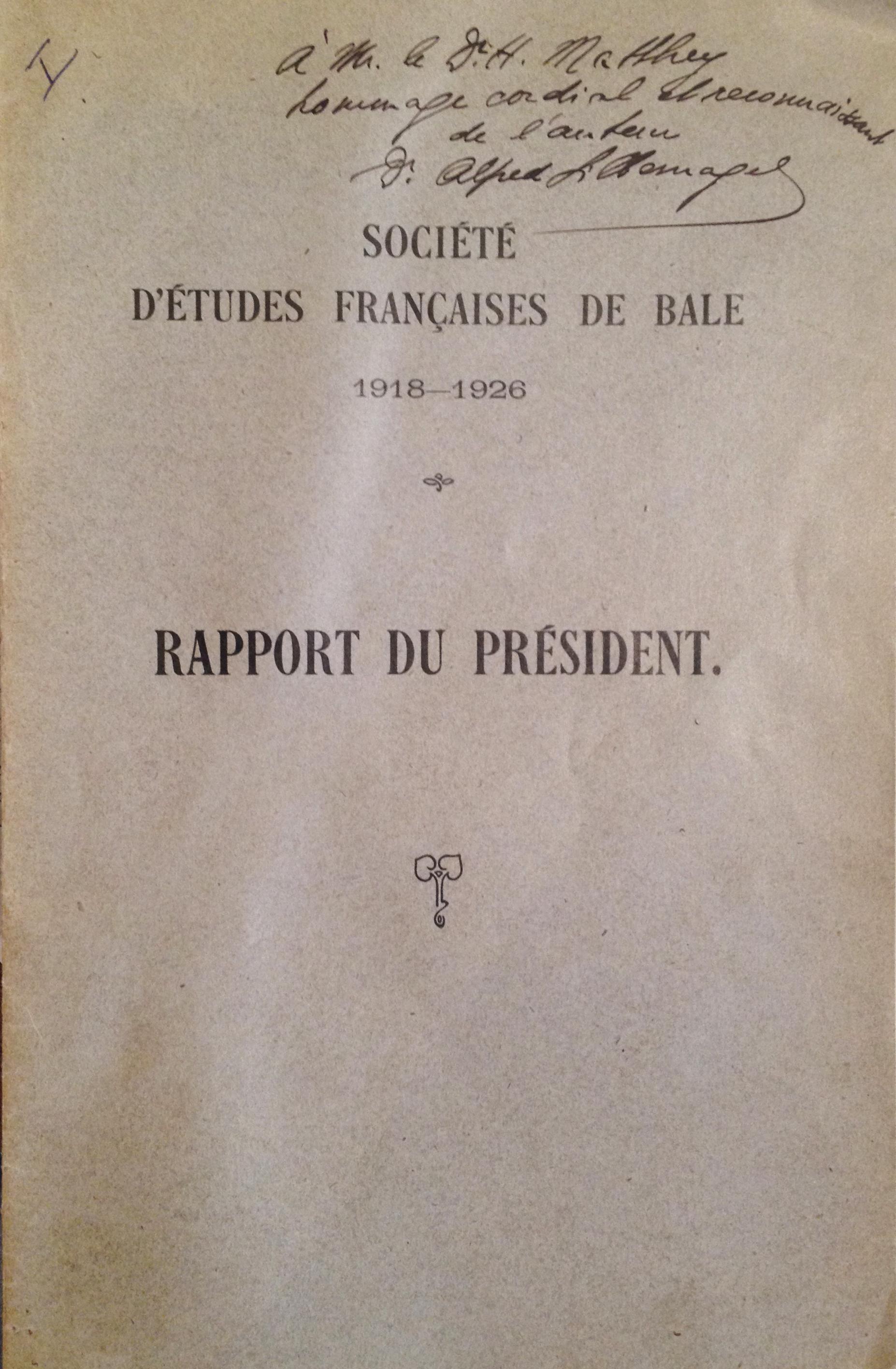 Rapport du président de la SEF en 1926